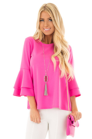 Bright Fuchsia Tiered Bell Sleeve Top front closeup