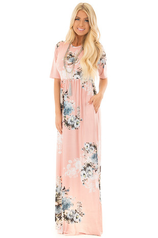 Dusty Pink Floral Print Maxi Dress with Hidden Pockets front full body