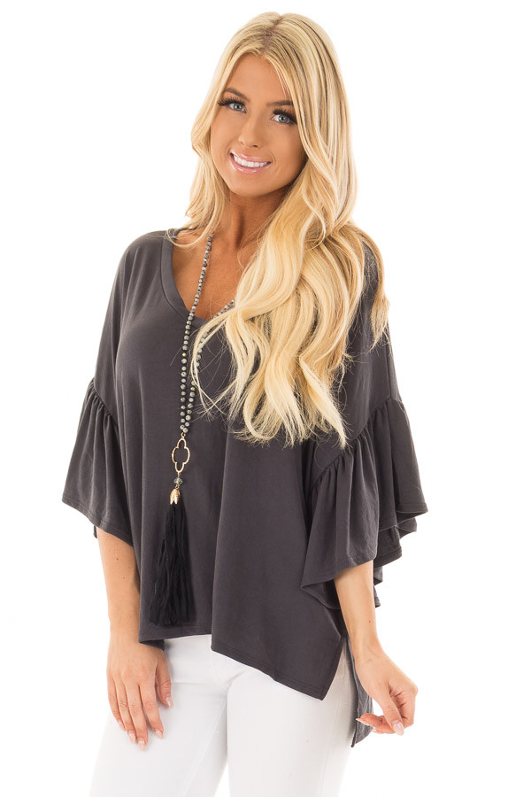 Charcoal Ribbed Knit Oversized Tee with Butterfly Sleeves front close up