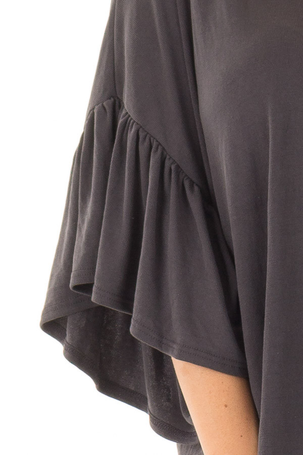 Charcoal Ribbed Knit Oversized Tee with Butterfly Sleeves detail