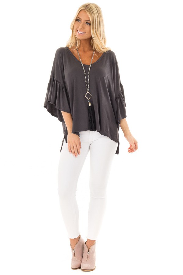 Charcoal Ribbed Knit Oversized Tee with Butterfly Sleeves front full body