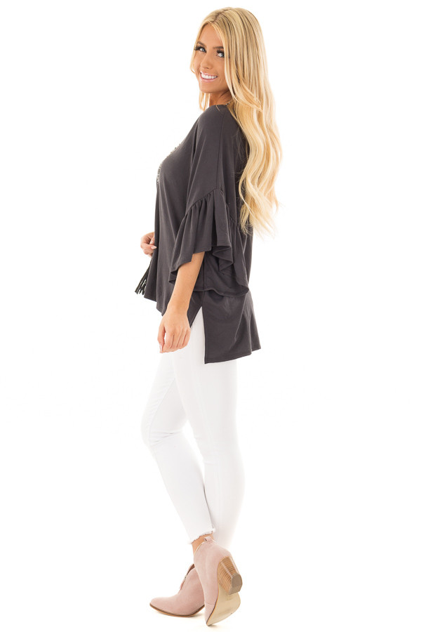 Charcoal Ribbed Knit Oversized Tee with Butterfly Sleeves side full body
