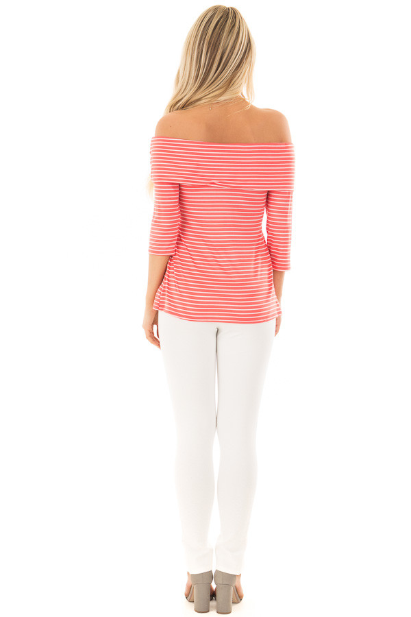 Coral 3/4 Off the Shoulder Sleeve with Criss Cross Detail back full body