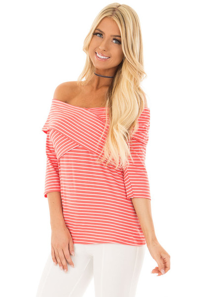 Coral 3/4 Off the Shoulder Sleeve with Criss Cross Detail front close up