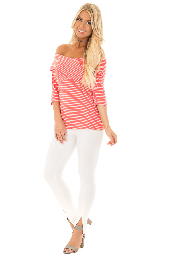 Coral 3/4 Off the Shoulder Sleeve with Criss Cross Detail front full body