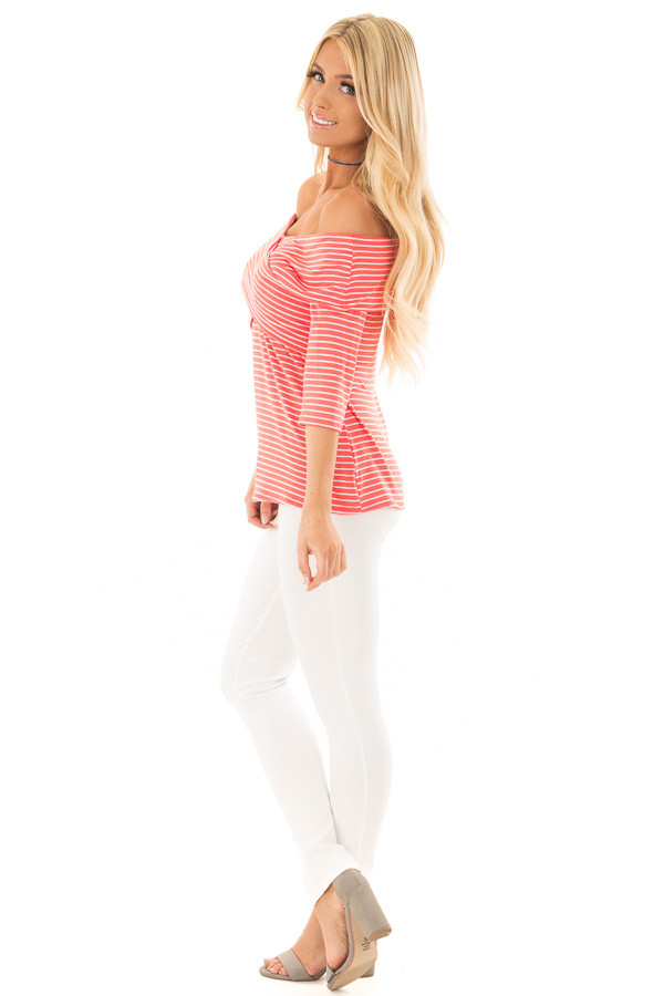 Coral 3/4 Off the Shoulder Sleeve with Criss Cross Detail side full body