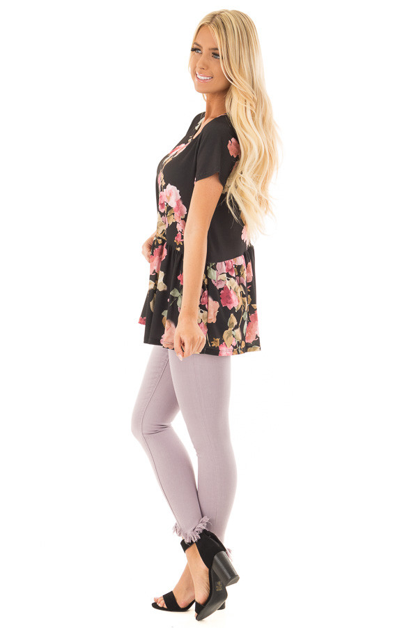 Black and Blush Floral Print Top with Gathered Waist side full body