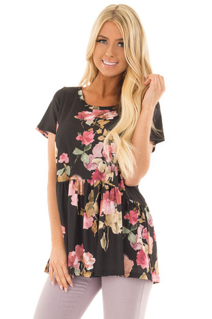 Black and Blush Floral Print Top with Gathered Waist front closeup