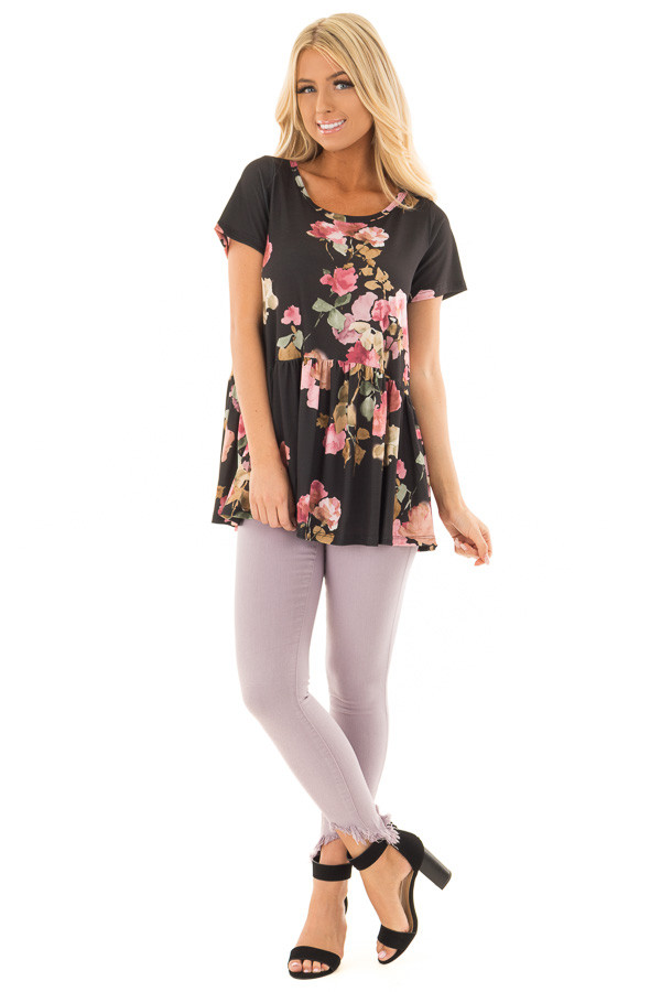 Black and Blush Floral Print Top with Gathered Waist front full body