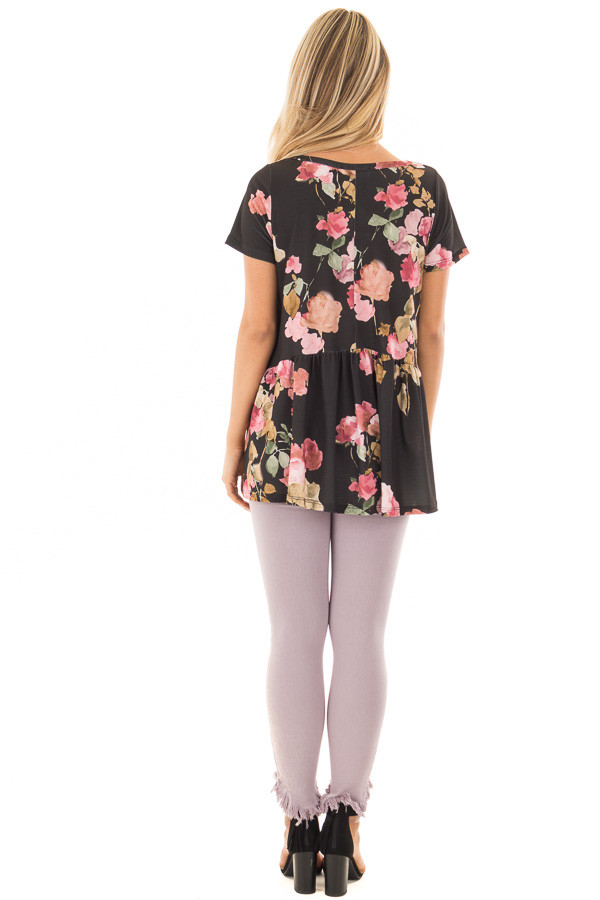 Black and Blush Floral Print Top with Gathered Waist back full body