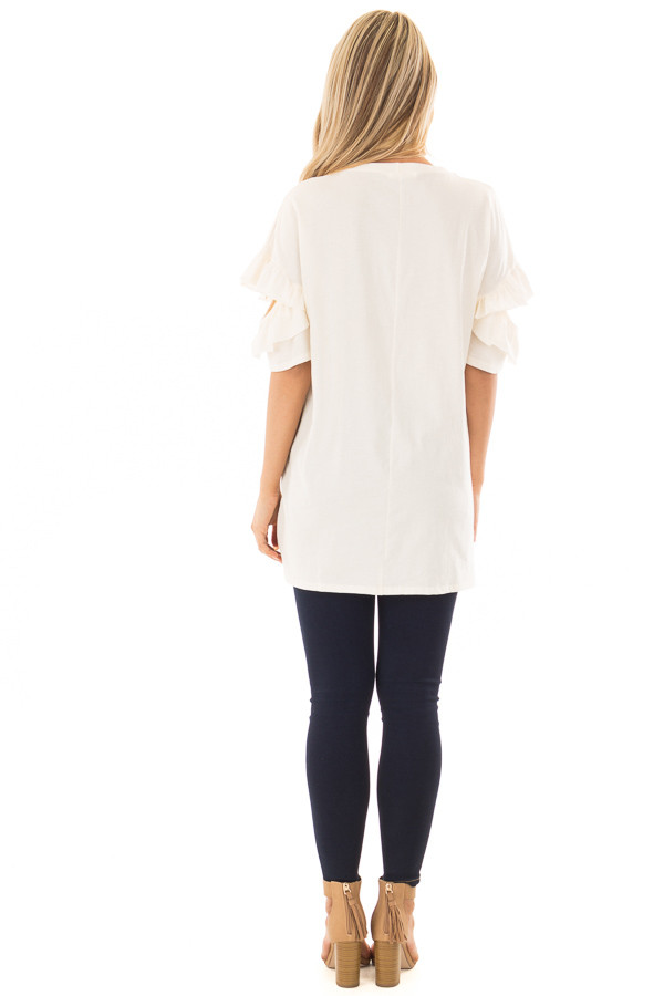 Ivory Ruffle Top with Sleeve Cutout Detail back full body