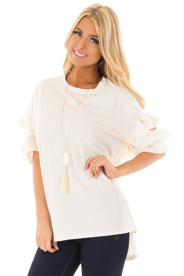 Ivory Ruffle Top with Sleeve Cutout Detail front close up