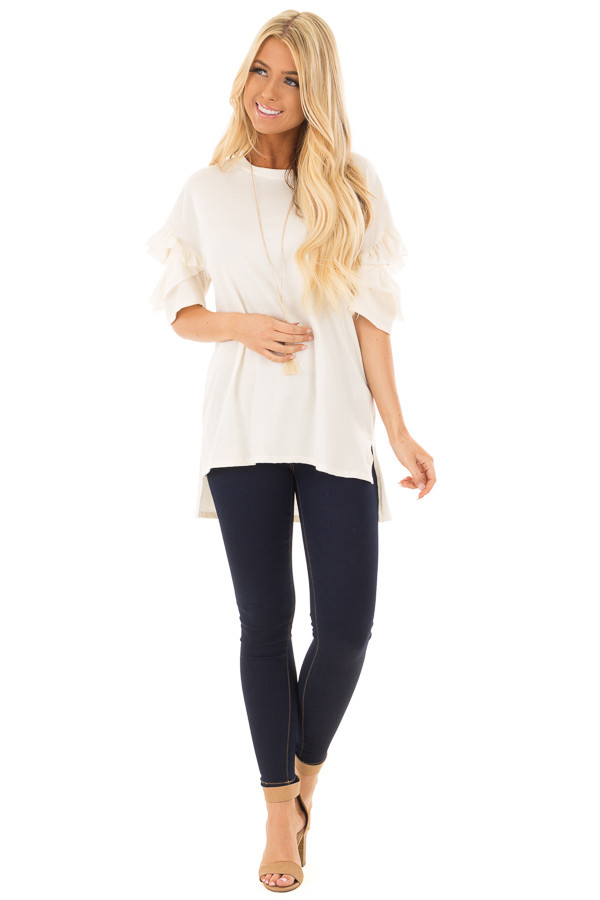 Ivory Ruffle Top with Sleeve Cutout Detail front full body