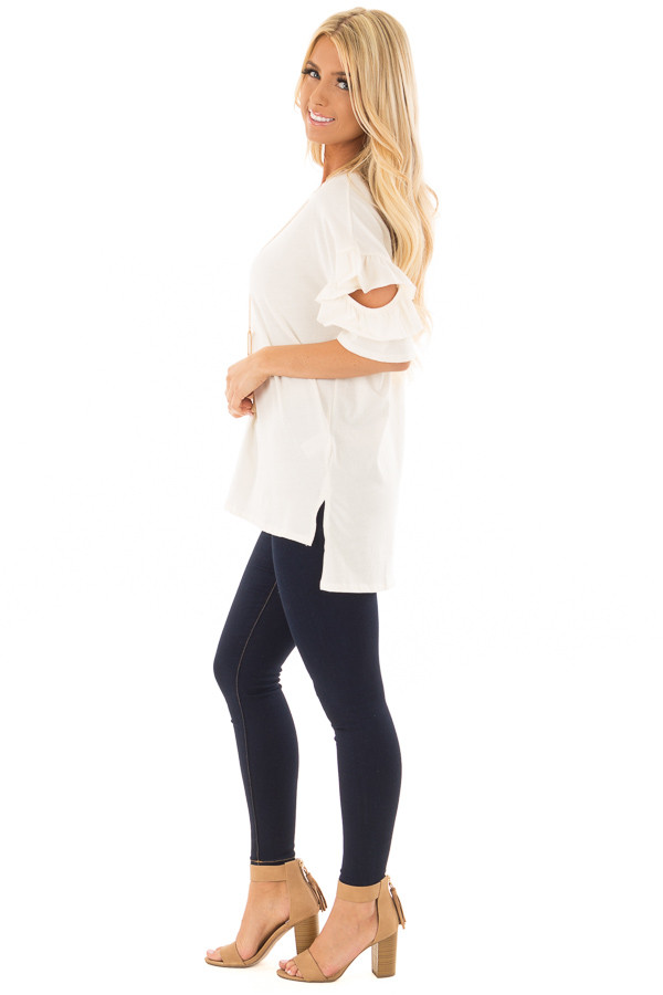 Ivory Ruffle Top with Sleeve Cutout Detail side full body