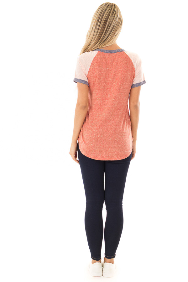 Brick Tee with Blush Baseball Cap Sleeve and Navy Trim back full body