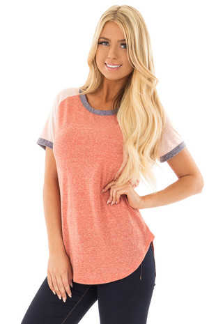 Brick Tee with Blush Baseball Cap Sleeve and Navy Trim front close up