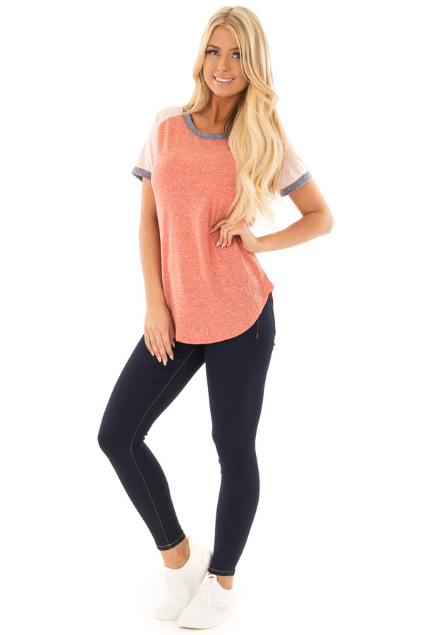 Brick Tee with Blush Baseball Cap Sleeve and Navy Trim front full body
