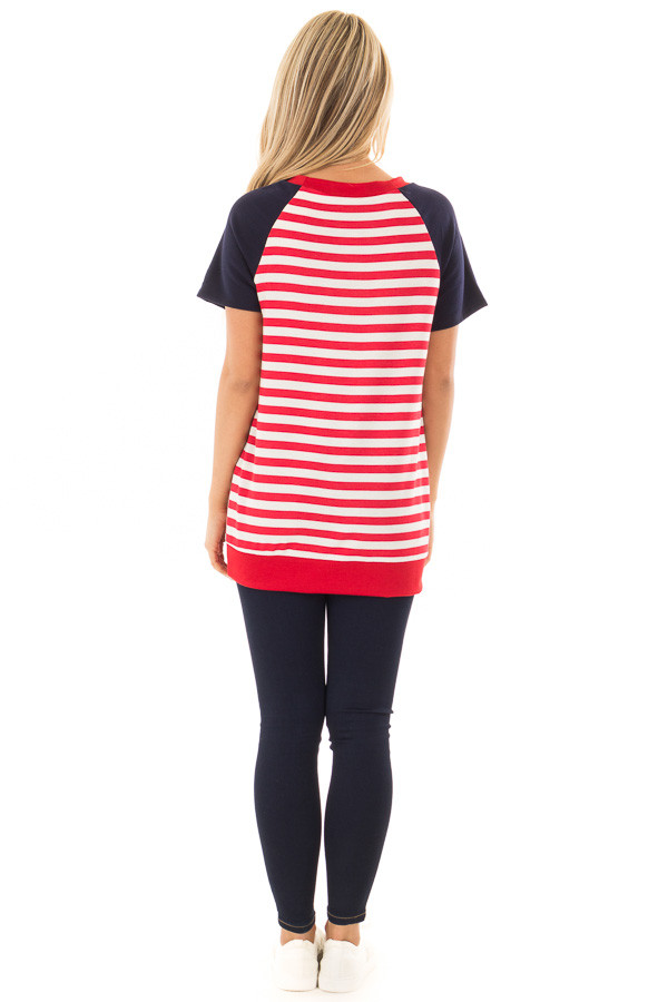 Red and White Stripes with Navy Solid Short Sleeves back full body