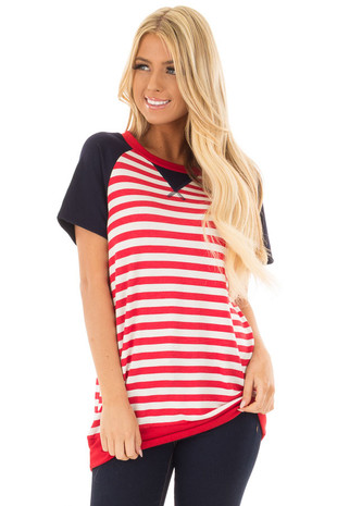Red and White Stripes with Navy Solid Short Sleeves front close up
