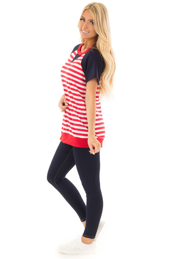 Red and White Stripes with Navy Solid Short Sleeves side full body