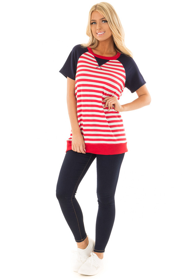 Red and White Stripes with Navy Solid Short Sleeves front full body