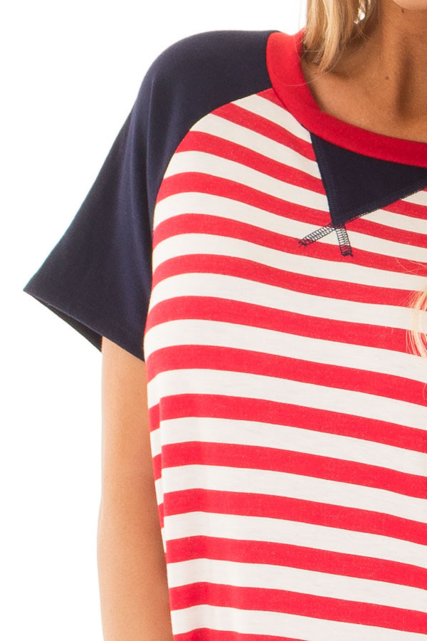 Red and White Stripes with Navy Solid Short Sleeves detail