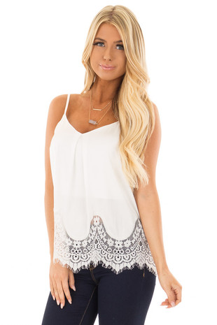White Satin Tank Top with Lace Trim front close up