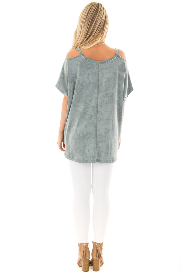 Faded Blue Mineral Wash Cold Shoulder Top back full body