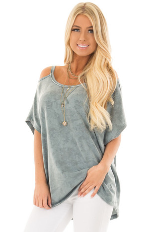 Faded Blue Mineral Wash Cold Shoulder Top front close up