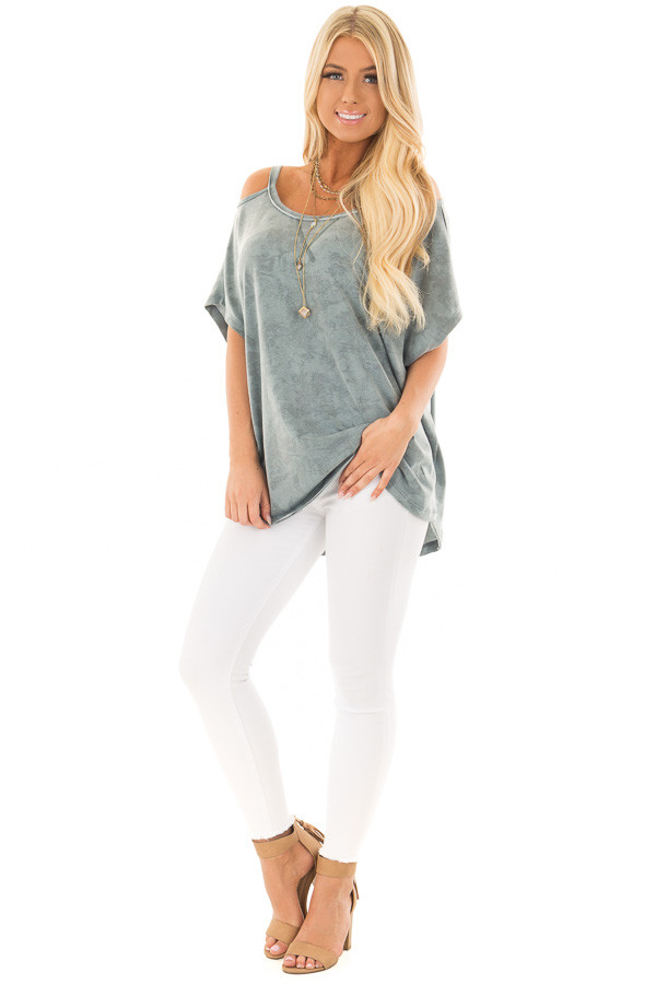 Faded Blue Mineral Wash Cold Shoulder Top front full body