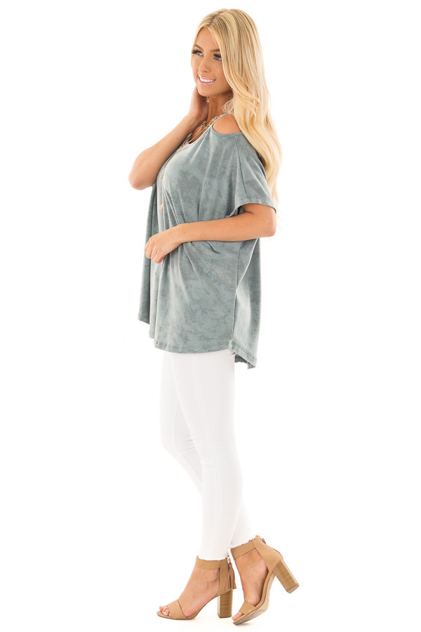 Faded Blue Mineral Wash Cold Shoulder Top side full body