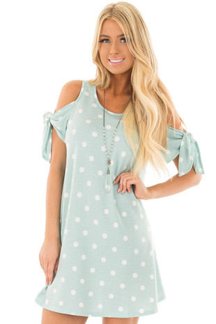 Dusty Mint Polka Dot Cold Shoulder Tunic with Tied Sleeves front close up