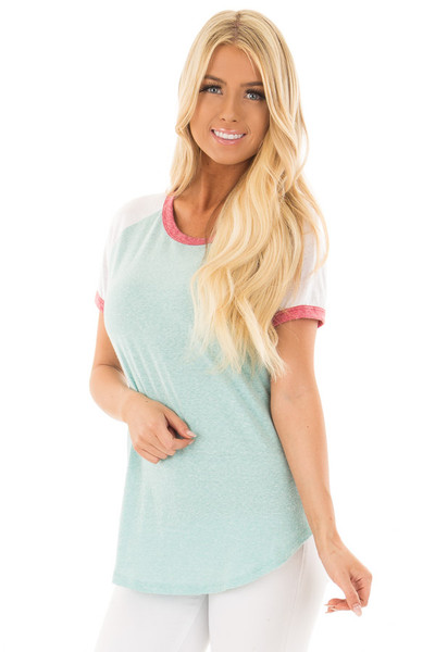 Seafoam Tee with White Baseball Cap Sleeve and Rose Trim front close up