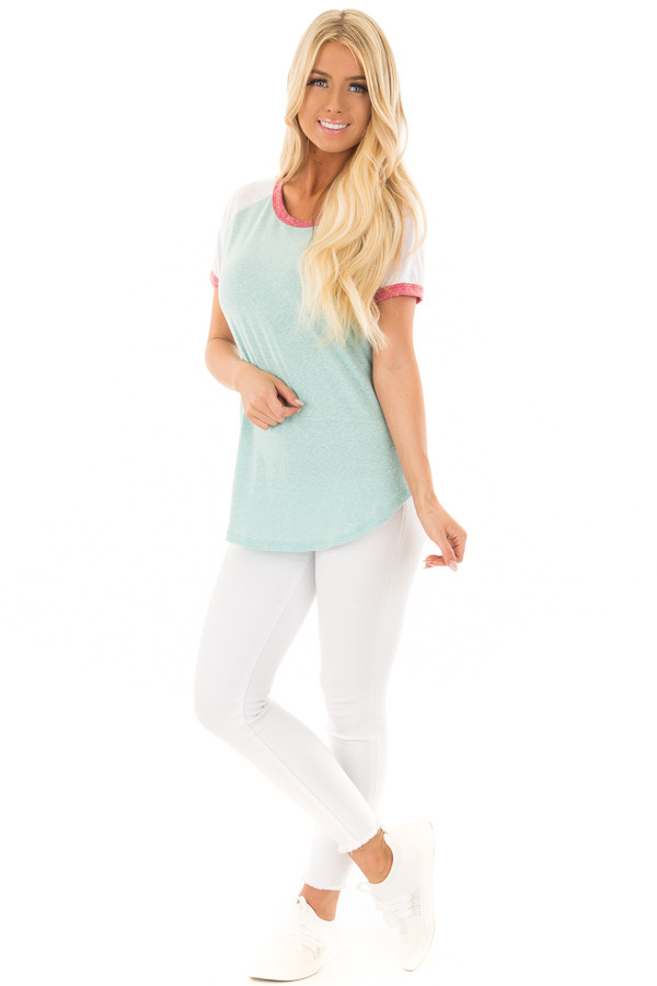 Seafoam Tee with White Baseball Cap Sleeve and Rose Trim front full body