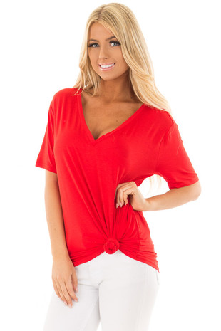 Lipstick Red V Neck Top front close up