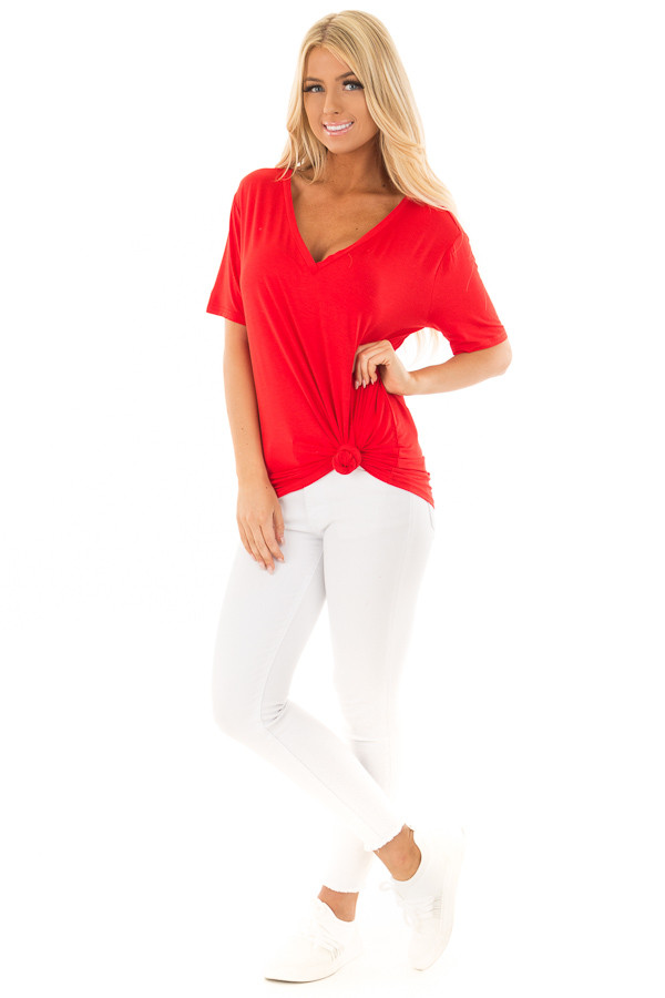 Lipstick Red V Neck Top front full body