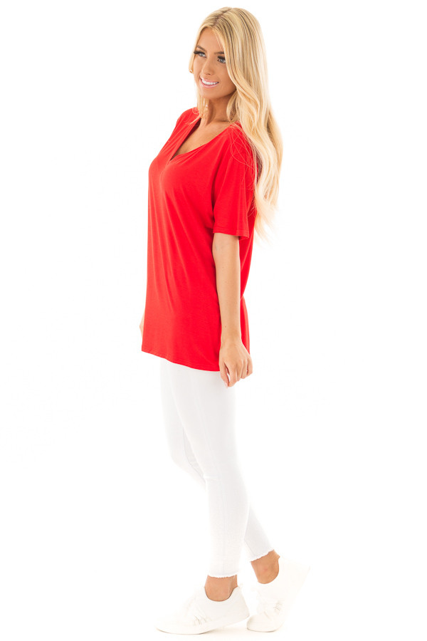 Lipstick Red V Neck Top side full body
