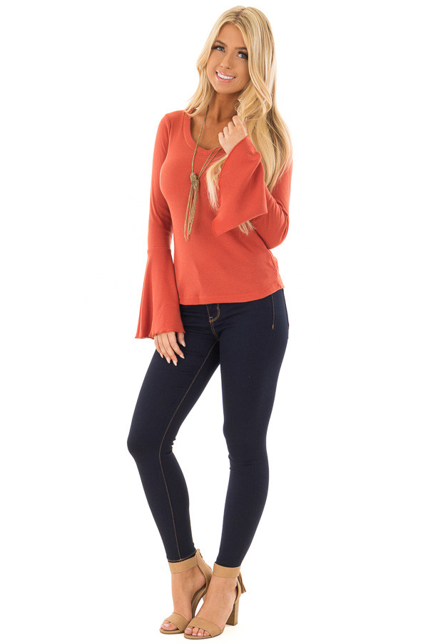 Rust Ribbed Knit Bell Sleeve V Neck Top front full body