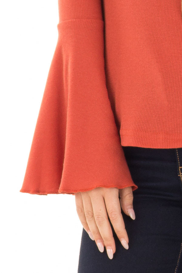 Rust Ribbed Knit Bell Sleeve V Neck Top detail