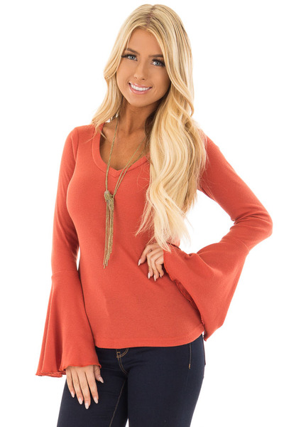 Rust Ribbed Knit Bell Sleeve V Neck Top front close up