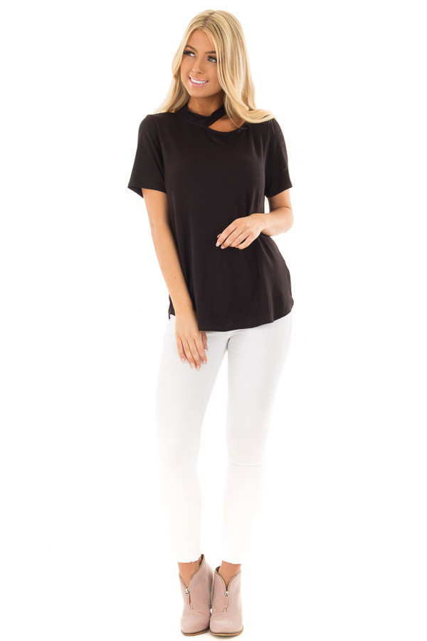 Black Short Sleeve Choker Cut Out Top front full body