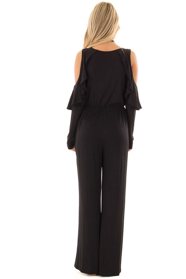 Black Cold Shoulder Crossover Jumpsuit with Ruffle Sleeves back full body