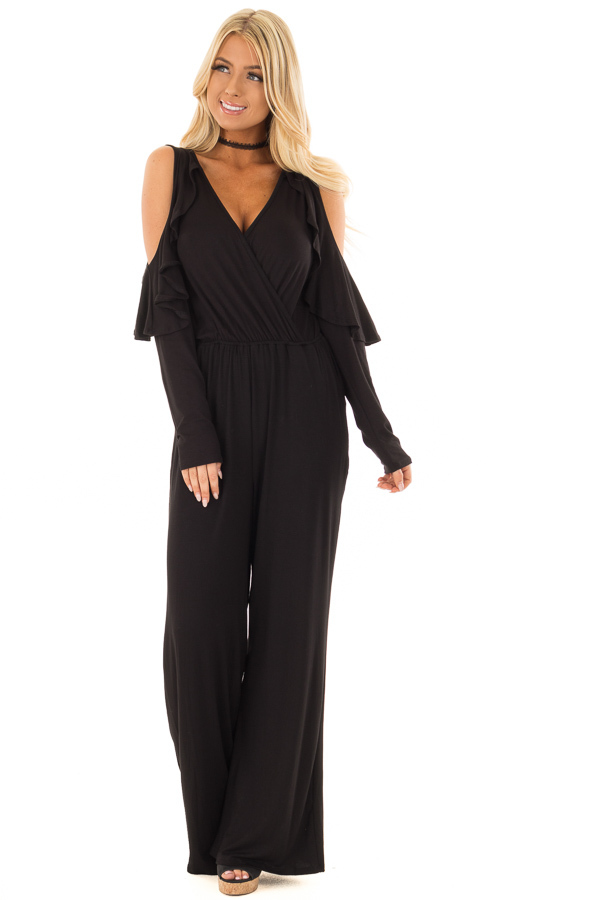 Black Cold Shoulder Crossover Jumpsuit with Ruffle Sleeves front full body