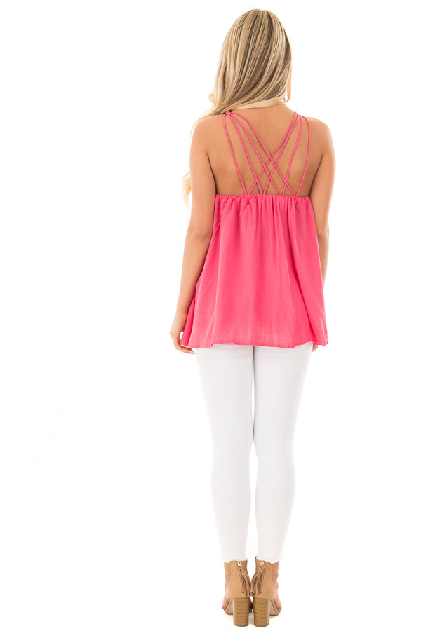 Strawberry Flowy Top with Strappy Shoulders back full body