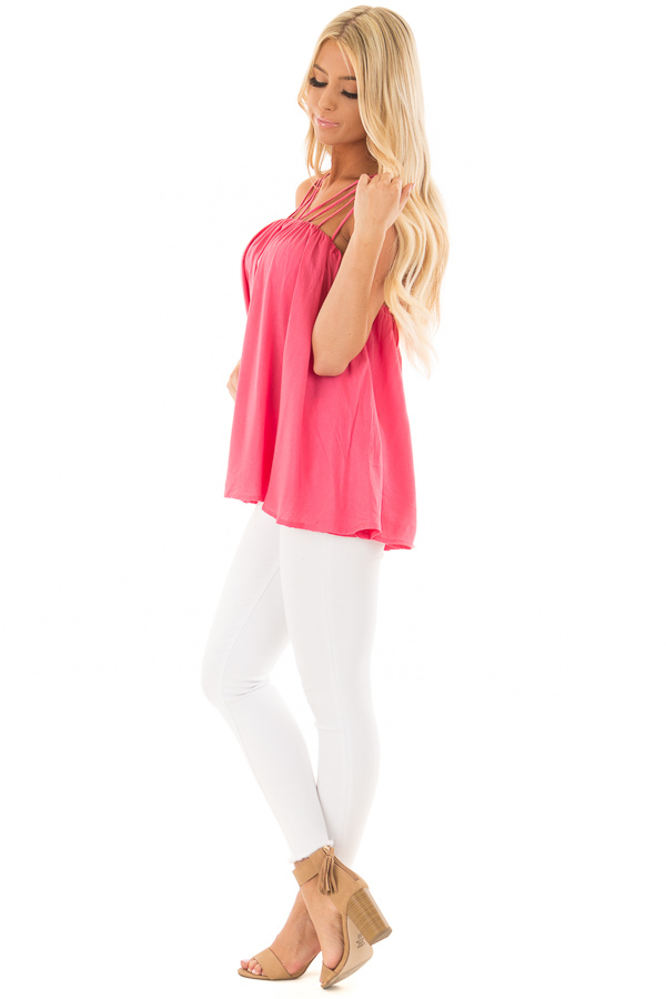 Strawberry Flowy Top with Strappy Shoulders side full body