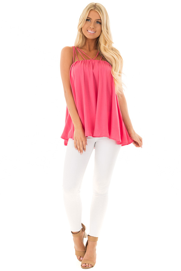 Strawberry Flowy Top with Strappy Shoulders front full body