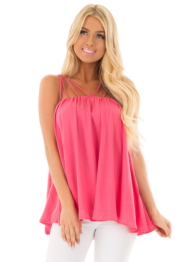 Strawberry Flowy Top with Strappy Shoulders front close up
