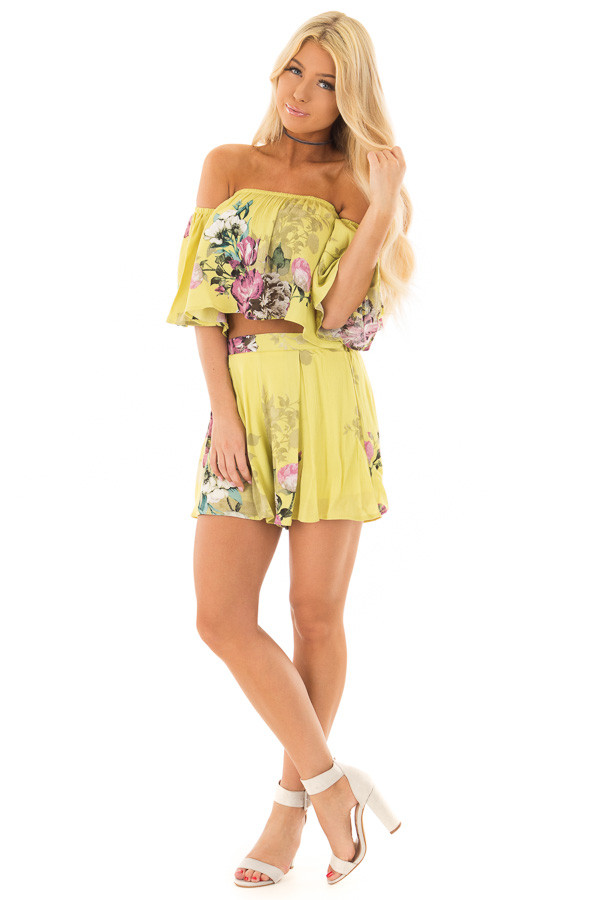 Citrus Yellow Floral Print Two Piece Set front full body