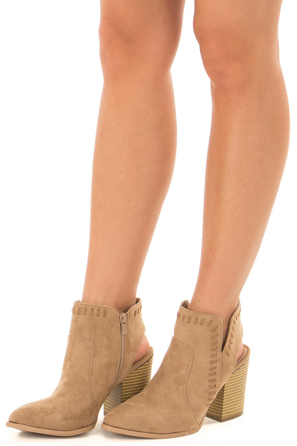 Taupe Faux Suede Bootie with Cut Out and Braided Details front side view