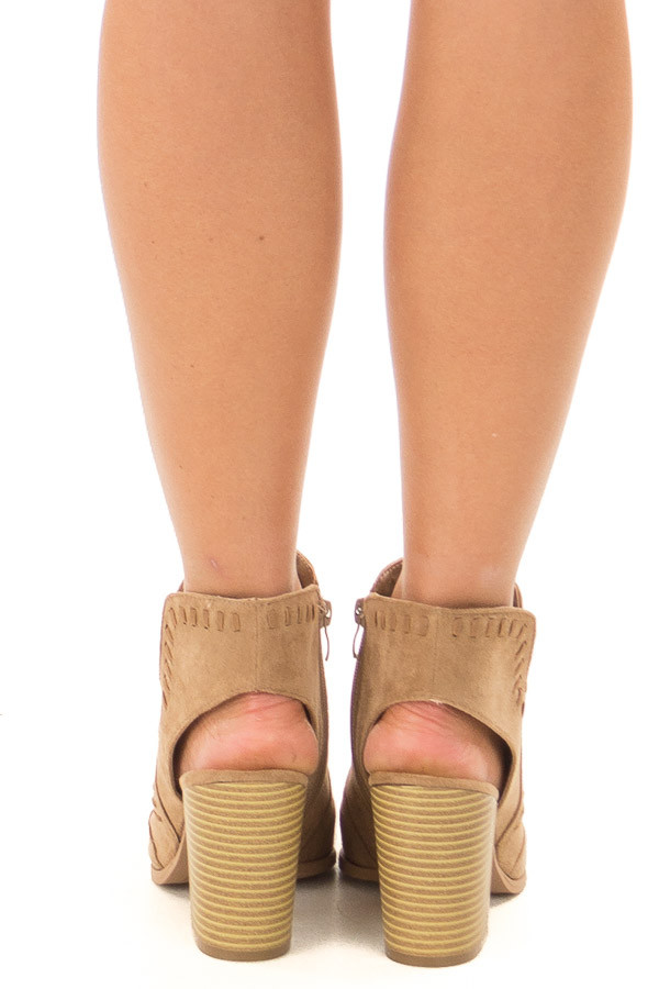 Taupe Faux Suede Bootie with Cut Out and Braided Details back view